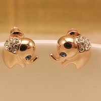 accessoryinlove  Cute Rhinestone Elephant Earrings