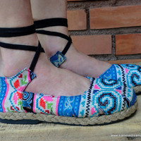Espadrille With Ankle Wrap Hmong Embroidery &amp; Batik, Flat Womens Shoe 6
