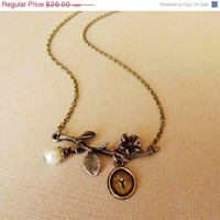 ON SALE Simple Branch Necklace, Hand Stamped , Personalized, Initials,  Mom, Mother's Day, Anniversary, Wedding, Great Gift.