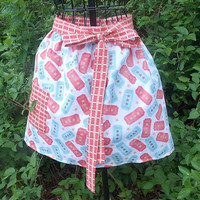 Woman&#x27;s Half Apron, pocket,  long ties, red and blue, gift, women&#x27;s,