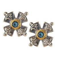 Blue Topaz Cross Post Earrings