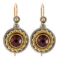 Garnet Small Flower Drop Earrings