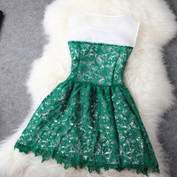 [grhmf2600067]Embroidery Flower Lace Dress