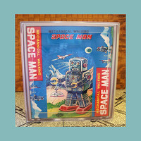 robot tissue box cover retro vintage 1950&#x27;s tin toy geek bathroom decor kitsch
