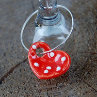 Stoneware wine charm  Red Heart with white by TheWickedPotter