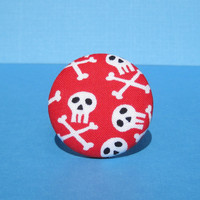 Skull and Crossbones pirate ponytail holder by SassyBelleButtons (FREE SHIPPING)