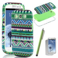 Amazon.com: Pandamimi ULAK(TM) 3in1 Hybrid High bumper Hard Aztec Tribal Pattern + Soft Silicon Case Cover For Samsung Galaxy S3 SIII i9300 4G Android Phone + Screen Protector + Green Stylus (Green+Green): Cell Phones & Accessories