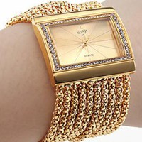 Gold Diamond Bracelet  Wrist Watch