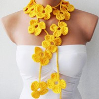 Solid Yellow Flower Hand Crochet Lariat Scarf | Missglory - Accessories on ArtFire