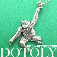 Cute Monkey Chimpanzee Gorilla Ape Animal Charm Necklace in Silver