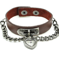 Friendship Punk Adjustable Heart Chain Leather Woven Bracelets mens bracelet Gifts for Men Unisex Bracelet 2215S