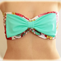 Bow Bandeau Big Bow Mint  Bandeau Neon Beach Bandeau Spandex, Strapless Bra, Bandeau Top, Bandeau Bikini