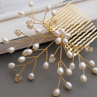 Golden Pearly Hair Comb Bridal Hair Flower by jewellerymadebyme