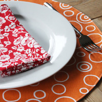 Circle Placemats - Orange with White Circles - Set of 4