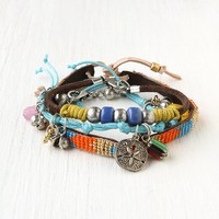 Free People Charm and Bead Bracelet Set