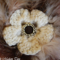 New fabulous Cream Crocheted flower clip with by LittleMadamtutu
