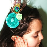 Beaded Feather Fancy Bridal Clip or Easter and by LittleMadamtutu
