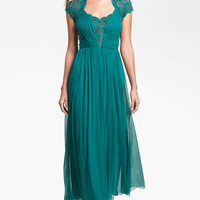 Alex Evenings Pleated Lace & Mesh Gown | Nordstrom