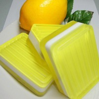 Lemon Soap Handmade Yellow White Glycerin 5.5 - 6 oz | PinksPleasures - Bath &amp; Beauty on ArtFire