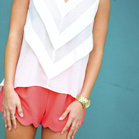 RESTOCK On Point Chevron Blouse: White | Hope&#x27;s
