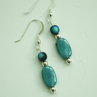 Blue Oval and Silver Accent Earrings / French Wire / Handmade Beaded Earrings / Fresh Wardrobe Accessory/ Fashion Jewelry