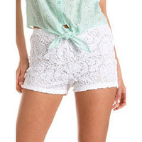 High Waisted Crochet Lace Short: Charlotte Russe