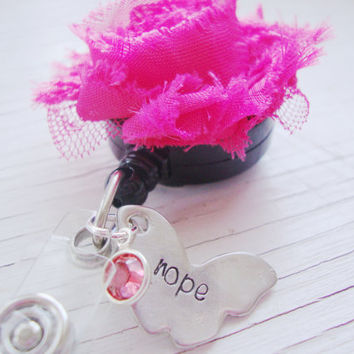 Hope butterfly hand stamped hot pink flower badge holder