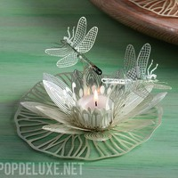 Lilly Pad Silver Plated Photo Etched Tea Light