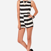 Know Your Black and Whites Striped Romper