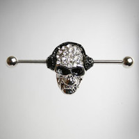 14 Gauge Bling Skull Industrial Barbell