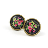 Rose Earring Studs - Black Pink Floral Earrings - Rose Jewelry - Floral Jewelry