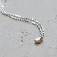 Tiny dot small simple necklace on sterling chain by edor on Etsy
