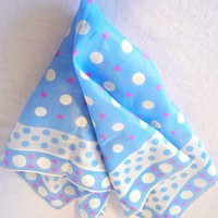 Ladies Chiffon Handkerchief, Baby Blue White Pink Polka Dot 50s 60s