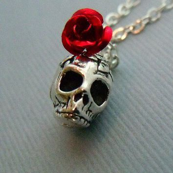 Silver Rose Skull Necklace