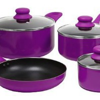 Amazon.com: Gibson 83549.07 ColorSplash Branston 7-Piece Aluminum Cookware Set, Purple: Kitchen &amp; Dining