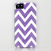 purple chevron iPhone Case by Her Art