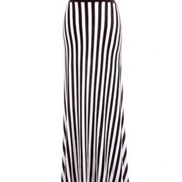 black and white striped maxi flare skirt from ustrendy