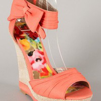 Qupid Bikini-259 Bow Ankle Cuff Platform Wedge