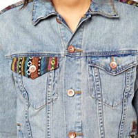ASOS Denim Boyfriend Jacket with Aztec Trim at asos.com
