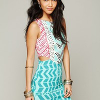 Free People Luau Print Cutout Bodycon