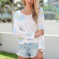 Cream Sweater with Bright Blue Diasy Print &amp; Ribbed Detail