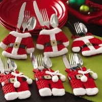 Santa Suit Christmas Silverware Holder Pockets By Collections Etc: Home &amp; Kitchen