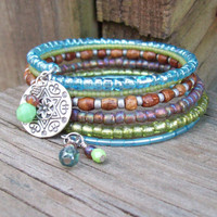 Memory Wire Beaded Bracelet - Bohemian Memories