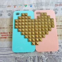 Fashion green and pink iPhone 4,4S hard Case Cover with bronze heart-shaped pyramid stud For iPhone 4 Case, iPhone 4S hand Case -143