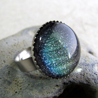Glitter Dome Ring  Aurora Borealis  Night Sky by AshleySpatula