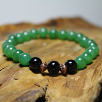 "Green Aventurine and Black Obsidian Meditation Bracelet     -  Stretch Men's Bracelet  8 1/2"" - Creativity and Protection"