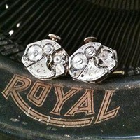 Steampunk Cufflinks 7 jewel by ellepaisley on Etsy
