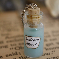 ON SALE Harry Potter Potion - Unicorn Blood Vial Necklace
