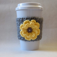 Crochet Flower Coffee Cup Cozy Gray and Yellow