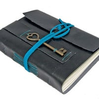 Black Vegan Faux Leather Journal with Heart Key Bookmark